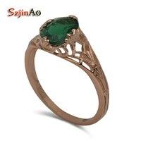 Szjinao Verwerking Custom Ring Echt Rose Gold Ring Wieden Bohemen Stijl Emerald Goud Verlovingsringen