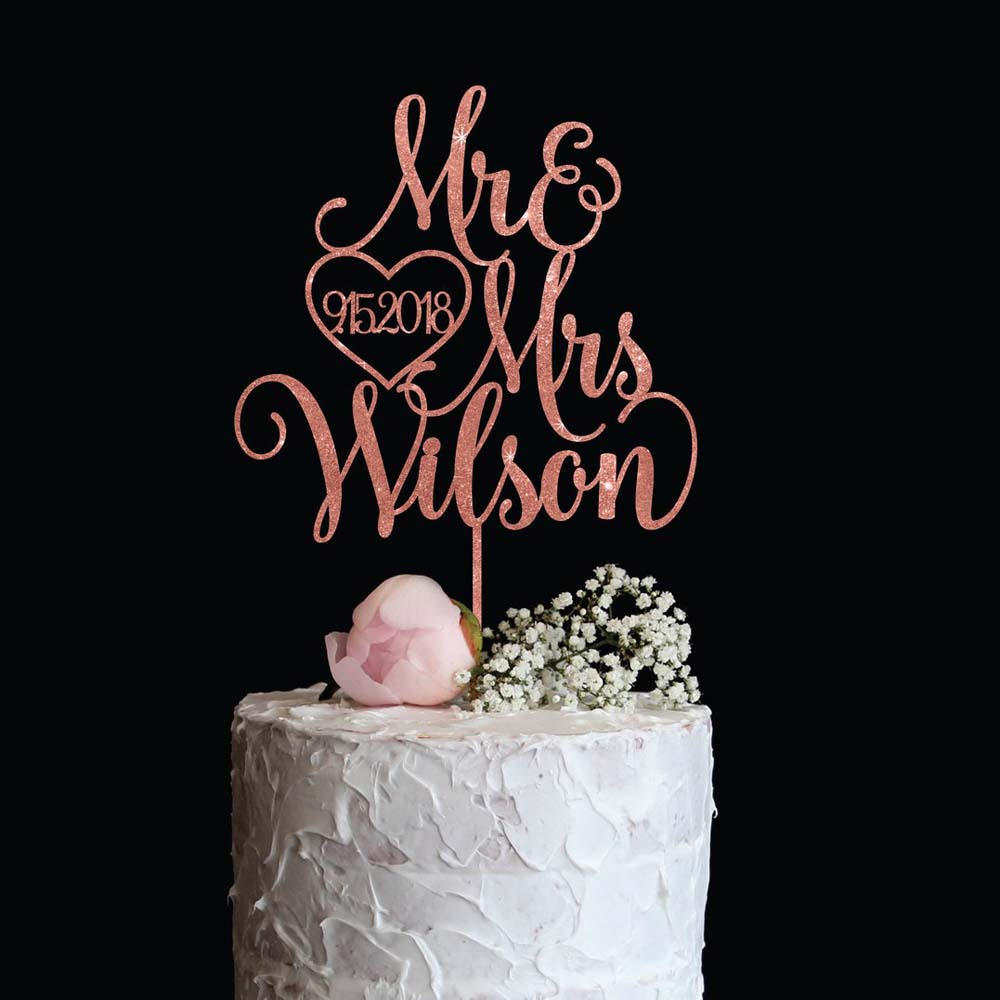 Индивидуальный зеркальный золотистый Топпер для свадебного торта с фамилией и датой, элегантный индивидуальный Топпер для торта Mr и Mrs золо...