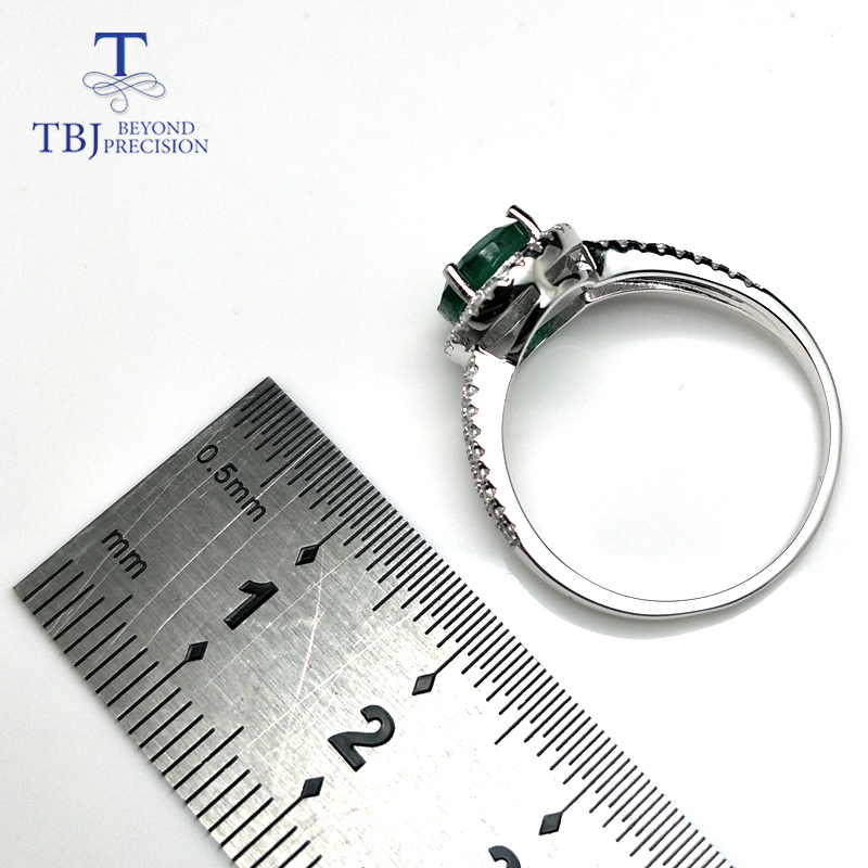Image 4 - TBJ, 100% natural emerald ring in 925 sterling silver with gift box,elegant dianna rings with natural emerald gemstone ring-in Rings from Jewelry & Accessories