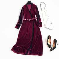 Elegant Women Fashion Velvet Dress Long Sleeve V Neck Patchwork Lace Autumn Dresses New 2017 Pearls