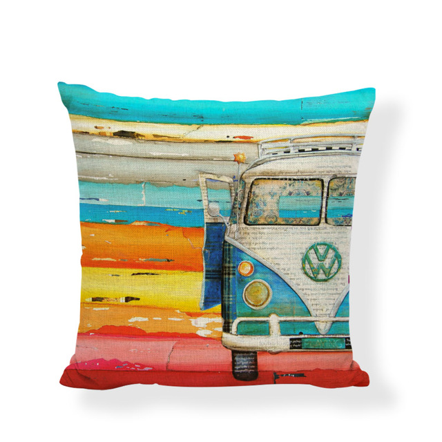 High Quality Retro Beetle Cushion Cover Shabby Chic Pillow Covers Game Chair 17.7inch Home Decor Sofa Mini Bus Throw Pillow Case