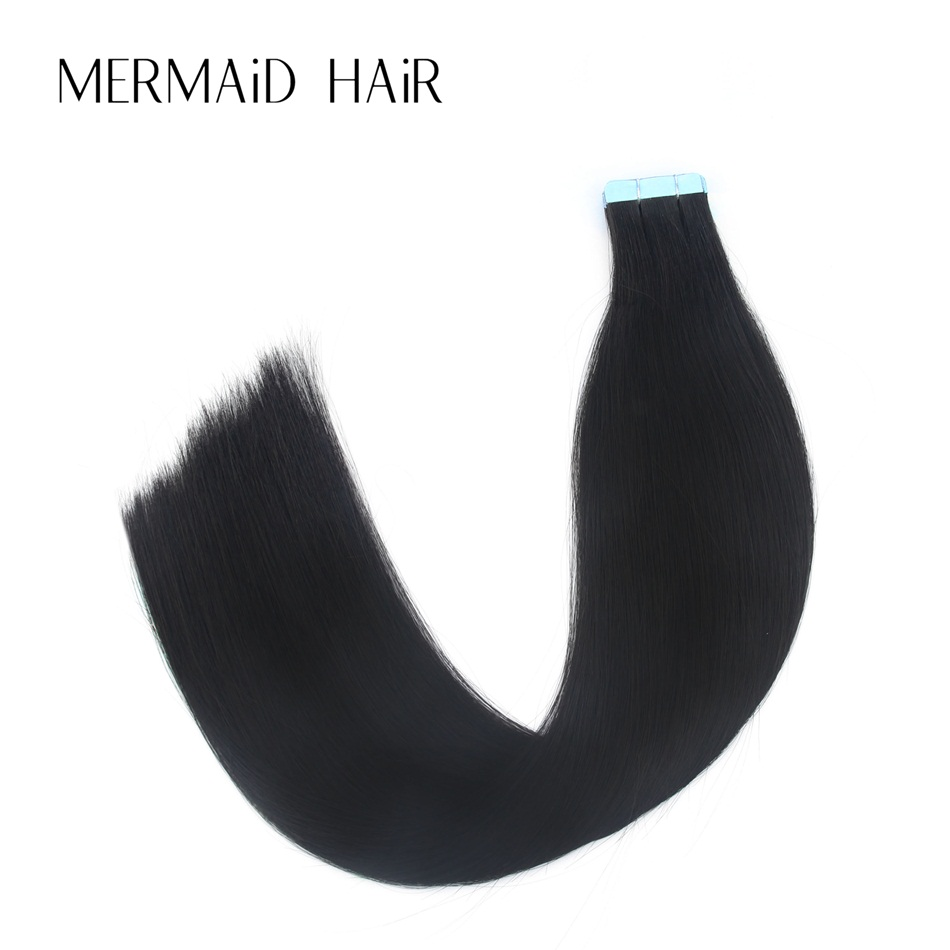 Mermaid 1B# Remy Hair Extensions Tape 16 18 20 22 Real Human Hair Straight Bundle Black  ...