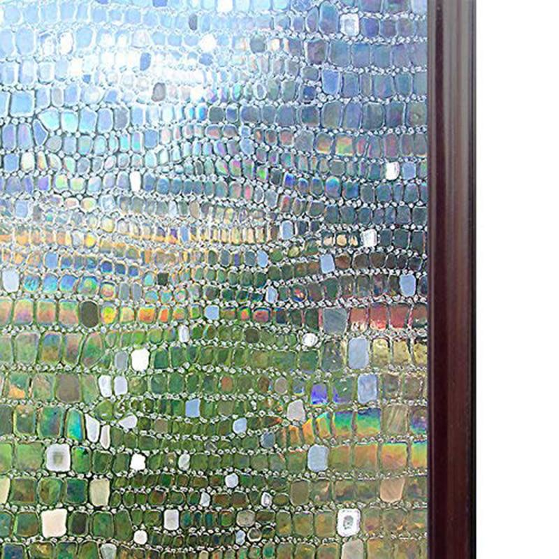Funlife 45x100cm No Glue Static Cling Privacy Glass 3D Pebble Window Films Non-Adhesive Heat Control Anti Uv Window Sticker