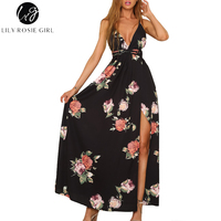 Lily Rosie Girl Black Floral Print Sexy V Neck Women Maxi Dresses 2018 Summer Beach Long