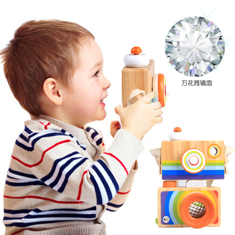 New Arrive Cute Wooden Toys Camera Baby Kids Hanging Camera Kaleidoscope Creative Educational Toy Children's Birthday Day Gifts