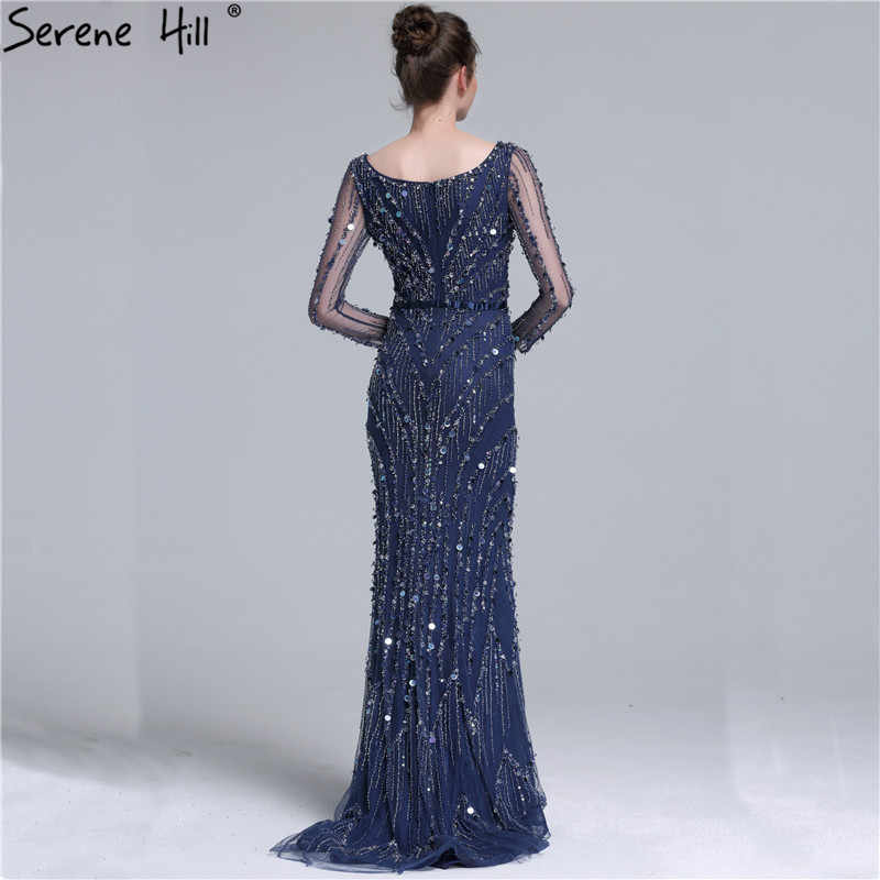 0b760d49edd9 ... Dubai Robe De Soiree Luxury Long Sleeve Evening Dresses 2019 Real Photo  Crystal Sequins Navy Blue ...