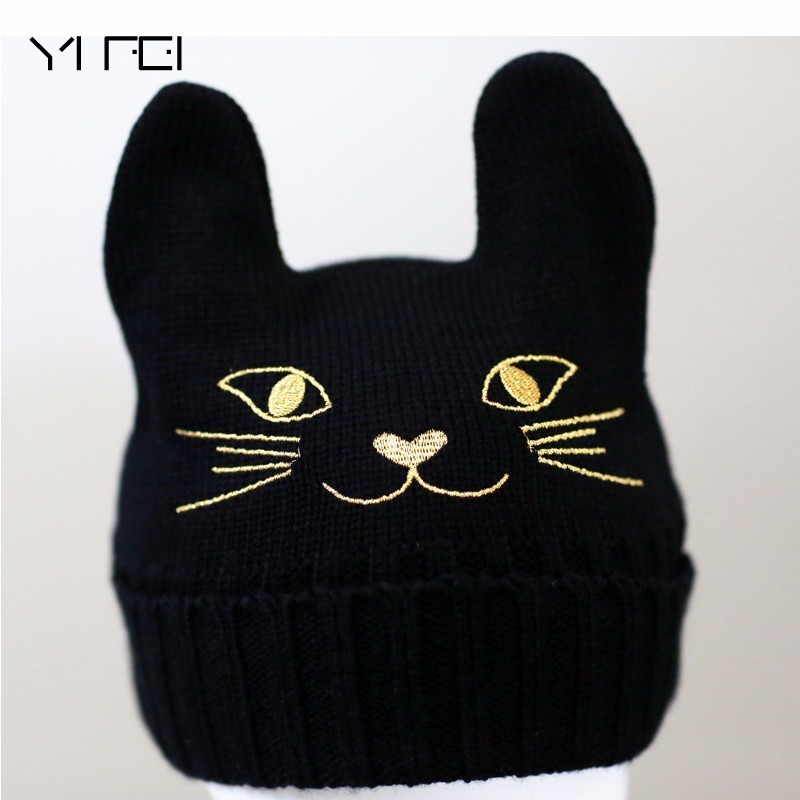 Women Winter Harajuku Woolen Knitting Beanie Devil Horns Cat Ear Crochet Braided Knitted Fur Cap Noverlty Girls Hat футболка toy machine devil cat navy