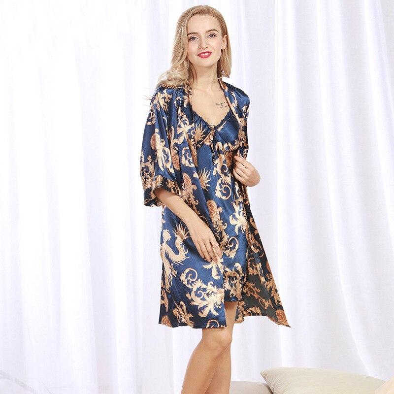 New Brand Satin Silk Robe & Gown Set Plus Size Two Pieces Suspender Sleepwear + Bathing Robe Printed Sexy Women Nightwear