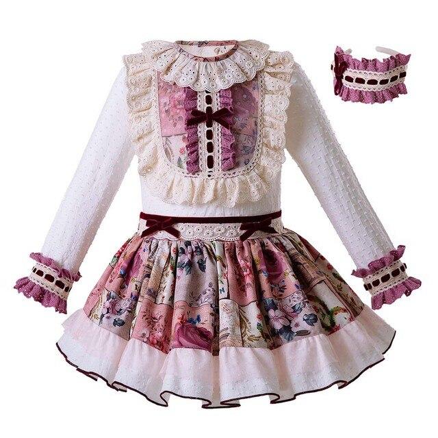 Pettigirl Bán Buôn Cổ Điển Phong Cách Hoa Công Chúa Cô Gái Quần Áo Bộ WhiteTops + Ren Váy Trẻ Em Trang Phục G-DMCS106-B325