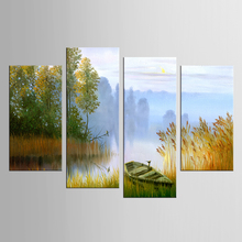4 panel box lake shore boat landscape painting mural artist decoration living room canvas printing modern njy-145