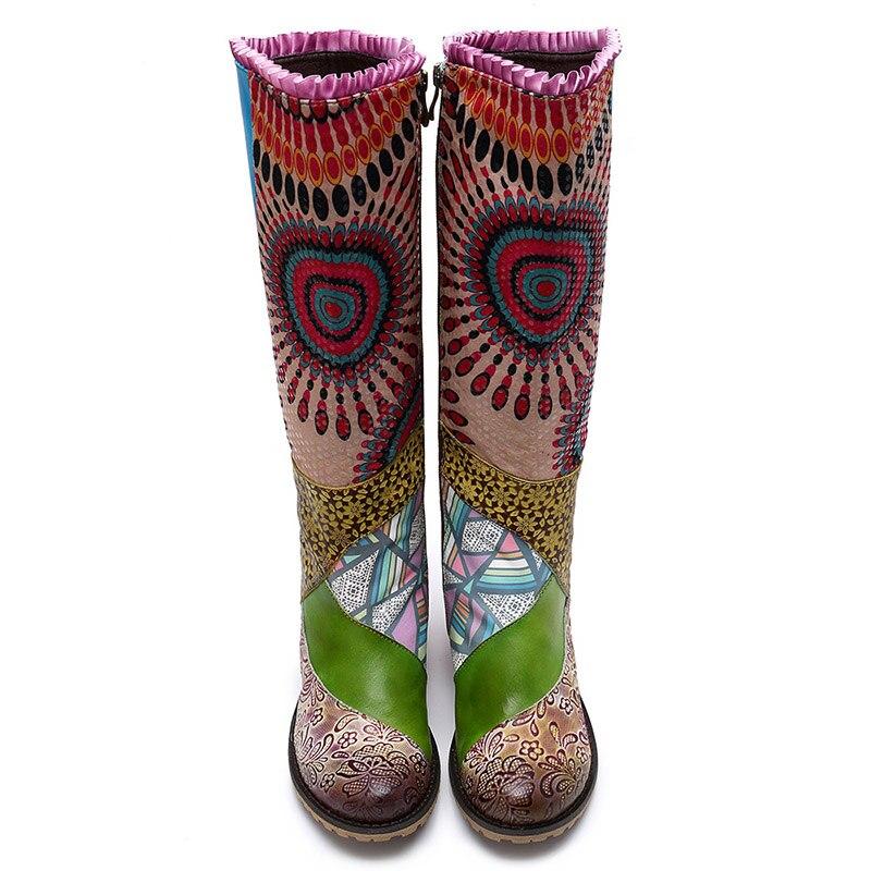 Mujer Tiempo De Multicolor Cremallera Tótem Con Chaussures Zapatos Femme Genuino Retro Sondr Cuero Altas Plataforma Tacón Botas Cuadrado 4xfXwEnqU