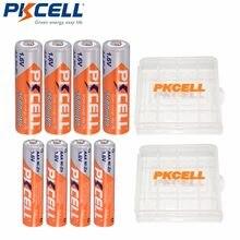 Pkcell 4 baterias aa 2500mwh + 4 pces 900mwh 1.6v nizn aaa bateria recarregável NI-ZN batterias com 2 caixa de caixa de suporte de bateria