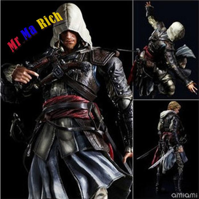 27cm Play Arts Kai Assassin Creed Iv Black Flag Assassins Creed 4 Edward James Kenway Pvc Action Figure Collectible Model Toy kz zs3 detachable in ear sport earphones with mic for mobile phone hifi stereo earphone dj xbs bass headset runing earbuds