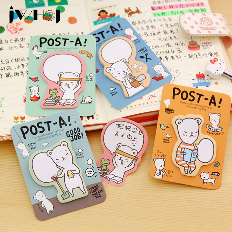 4pcs/lot portable Cute bear ememo pad paper sticky notes post notepad memo stationery papeleria school office supplies