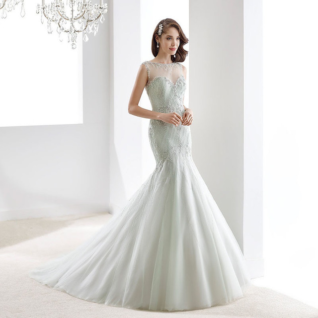 Mermaid Wedding Dresses Sheer Top With Beading Zipper Back Mint