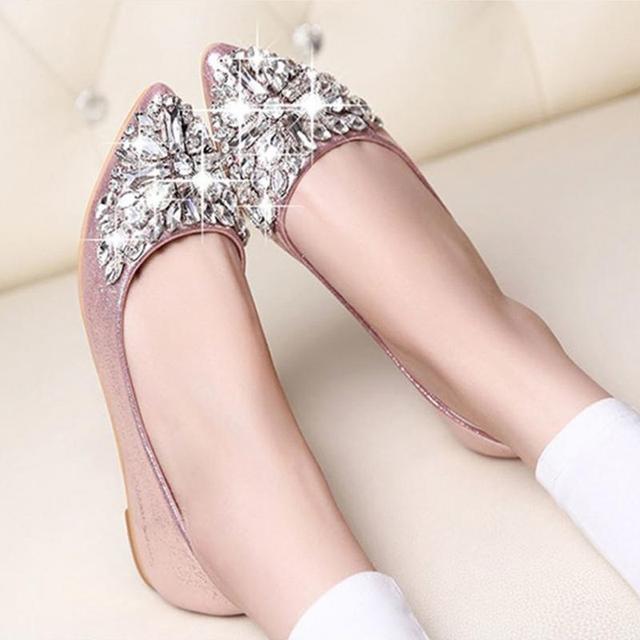 Горный хрусталь острым носом плоский каблук женской обуви обувь одного женщин моды женщин плоские туфли * 35