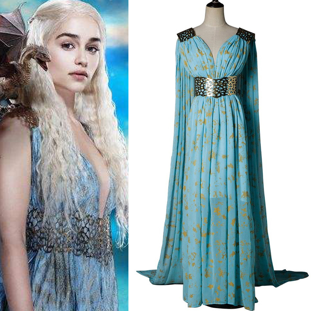 Game Of Thrones Daenerys Targaryen Dress Cosplay Costume A Song of Ice and Fire Blue Wedding Halloween Party Fancy Balldown new game of thrones anime ice and fire backpack shoulder school bag package cosplay 45x32x13cm