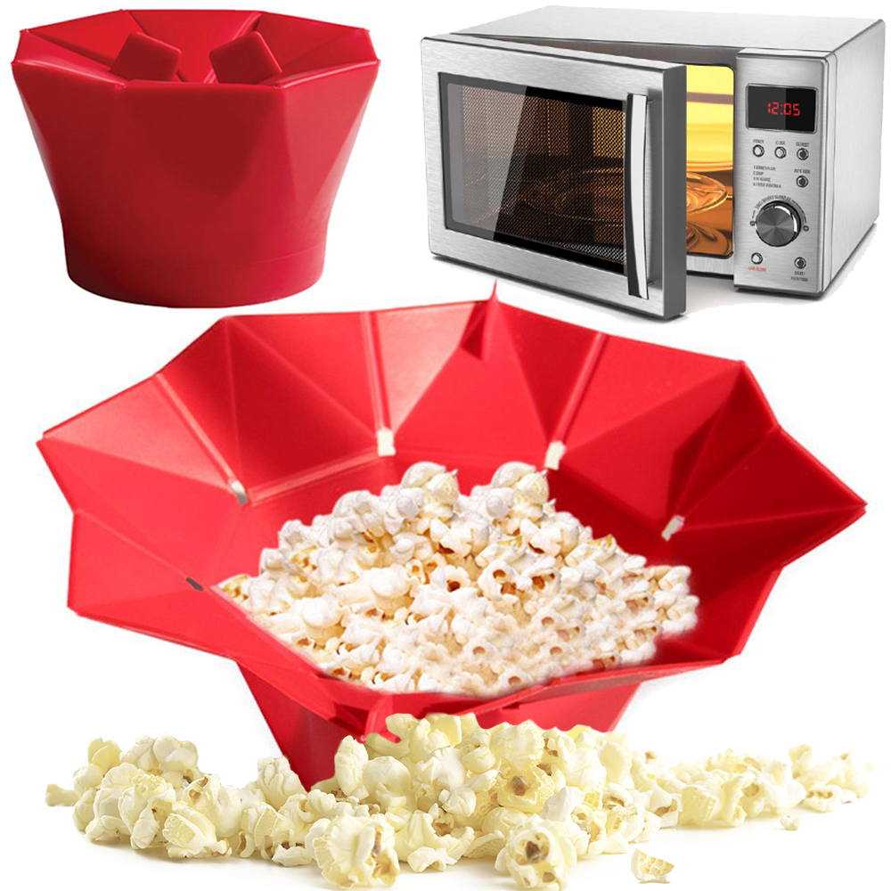 1pc magic microwave silicone popcorn maker fold bucket popper bowl diy healthy snack makers container kitchen - Popcorn Makers