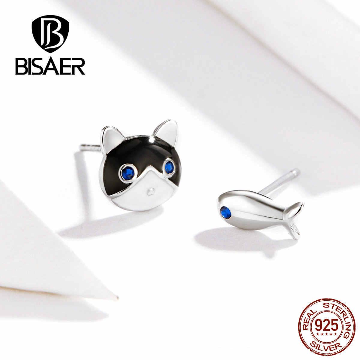 Pendientes de gato BISAER 925 plateados felinos y peces pequeños pendientes de tuerca para mujer, pendientes baratos, joyería ECE623