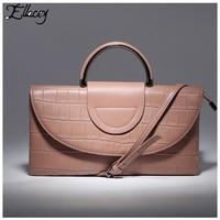 New Stylish 2017 Cow Split Leather Alligator Day Clutches Luxury Handbags Women Bags Designer Genuine Leather