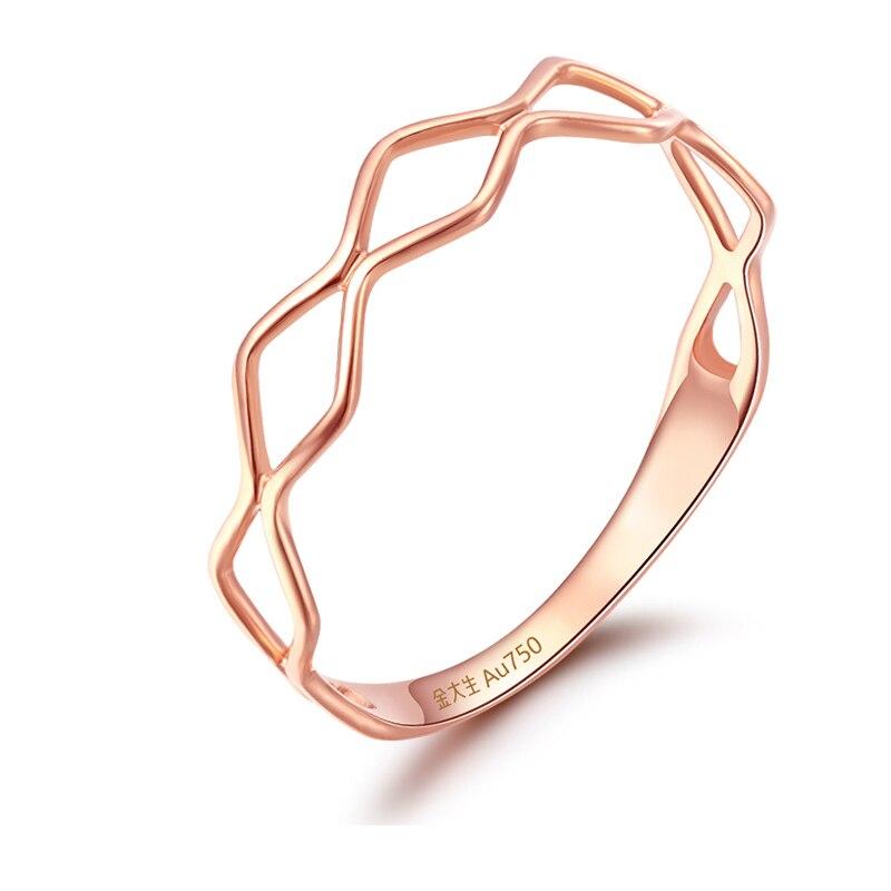 Pur AU750 bague en or Rose femmes mode bague bande 0.69g