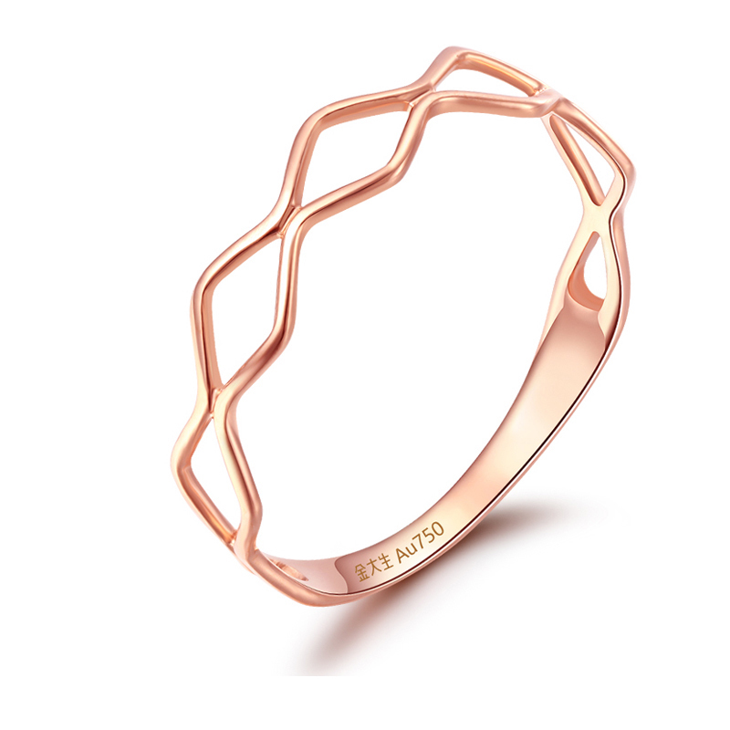 Pure AU750 Rose Gold Ring Women Fashion Ring Band 0.69g authentic au750 rose gold ring fashion number designer 520 ring 0 95g hot sale