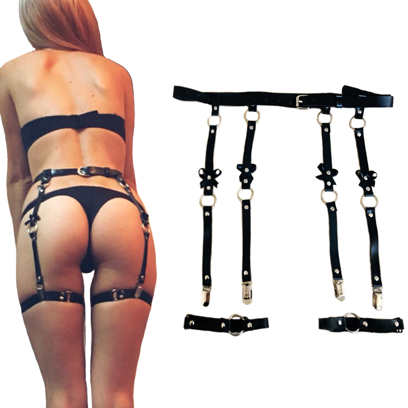 Sexy Women leather Waist Garter belts for Stockings Bow Handmade Punk Costume metal O-Round Waist Belt 4 suspenders accessories
