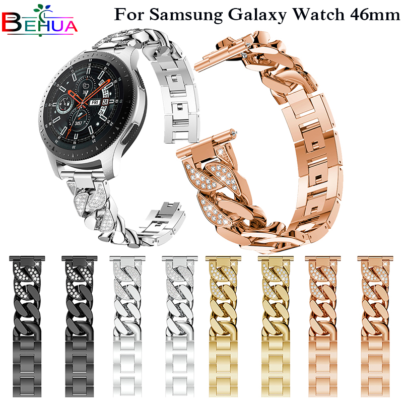 Replacement watch Strap For Samsung Galaxy Watch 46mm SM-R800 Smartwatch band Width 22mm Watchband with Rhinestone Wristband