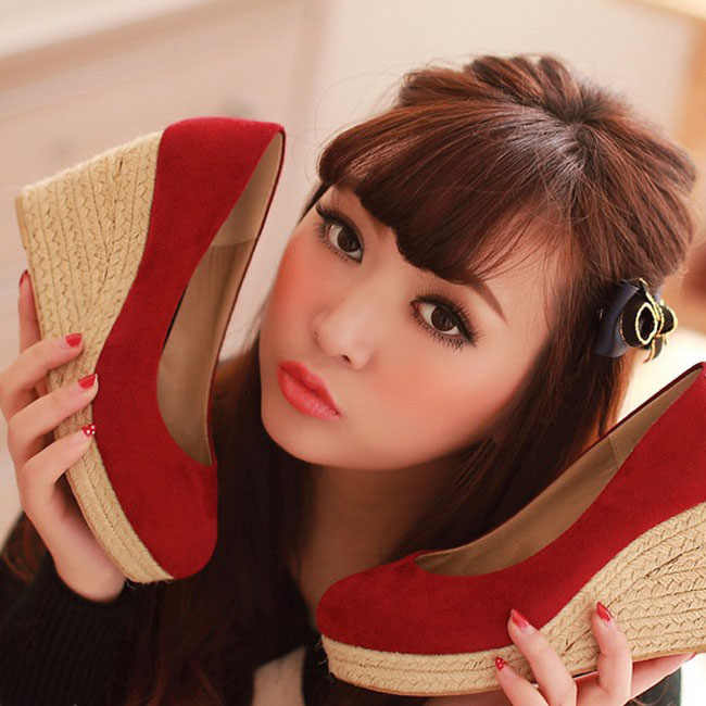EAGSITY נשים זמש טריזי נעלי פלטפורמת משאבות עגול הבוהן להחליק על מסיבת חתונה נשים גבוהה העקב נעליים מזדמנים נוח