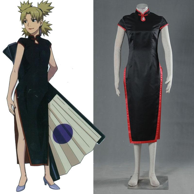 Anime font b Naruto b font font b Cosplay b font Temari Cheongsam Costume Halloween Dress