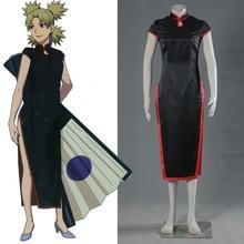 Аниме Косплей Наруто Темари Cheongsam Костюм Halloween Dress Женский Элегантный Черный Китайский Cheongsams