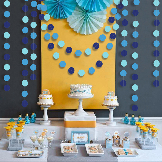 Blue Circle Dot Garlands Streamer for Summer Under the Sea Party Decoration Beach Ocean Bubble Hanging Bunting Banner Backdrop