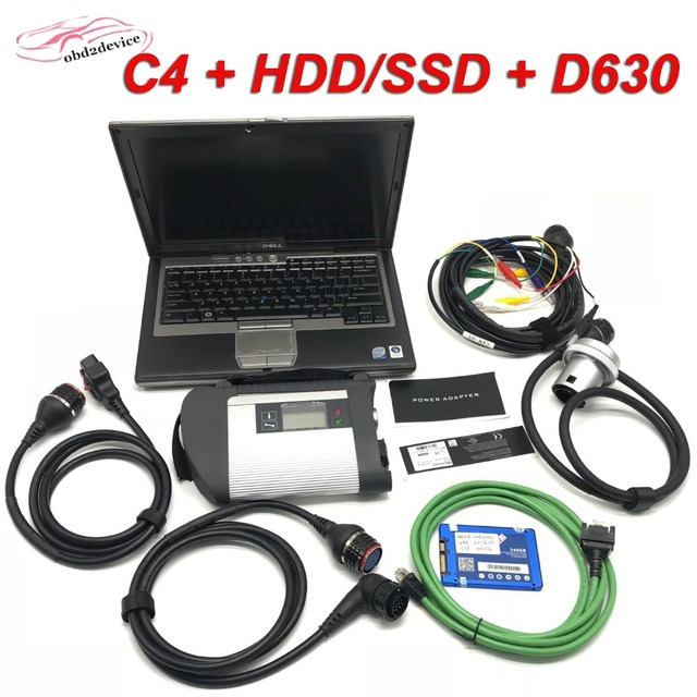Cheap Scanner MB STAR C4 Diagnostic Tool with WIFI Fuction SD Connect C4 with 201812 Software HDD/SSD and Laptop D630 Well Installed