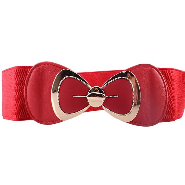 Bowknot Buckle Wide Elastic Stretch Waist Belt