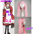 New Lady lolita Peluca Popular Heat Resistant hair Vocaloid Hatsune Miku 2 Clip-on Ponytails Long Straight Hair Full Wig pink