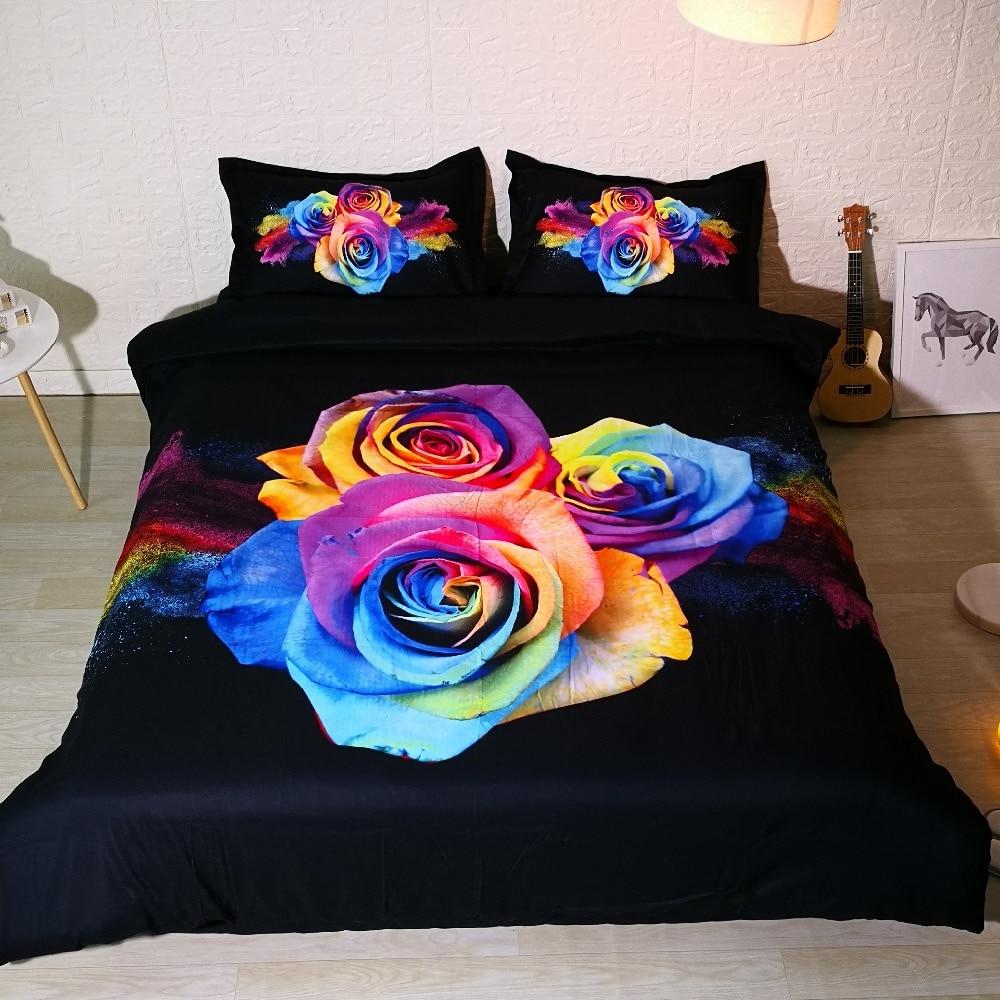 3 PCS PER SET Rainbow Rose Explosion pretty 3d bedding set and 3d Bed sheet Set