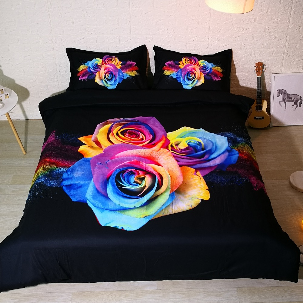 3 PCS PER SET Rainbow Rose Explosion pretty 3d bedding set and 3d Bed sheet Set