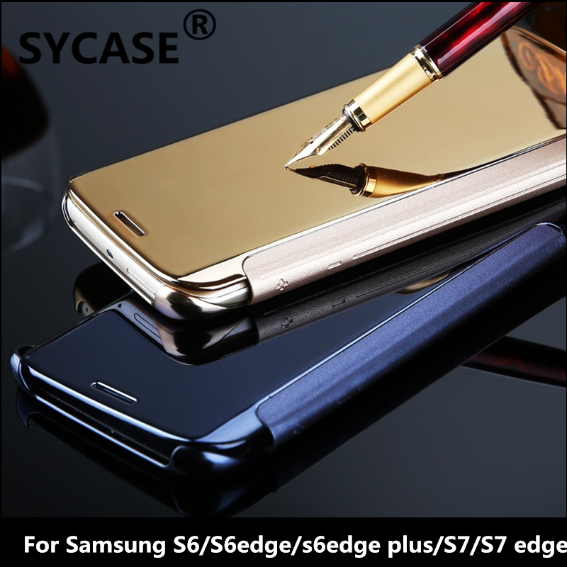 SYCASE For Samsung S7 edge S6 edge plus Hybrid Leather +Hard Plastic Flip Plating Case Smart View Clear Mirror Screen back case