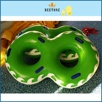 Green inflatable swimming ring with beautiful flame picture and text, inflatable ring for PVC airtight water slide