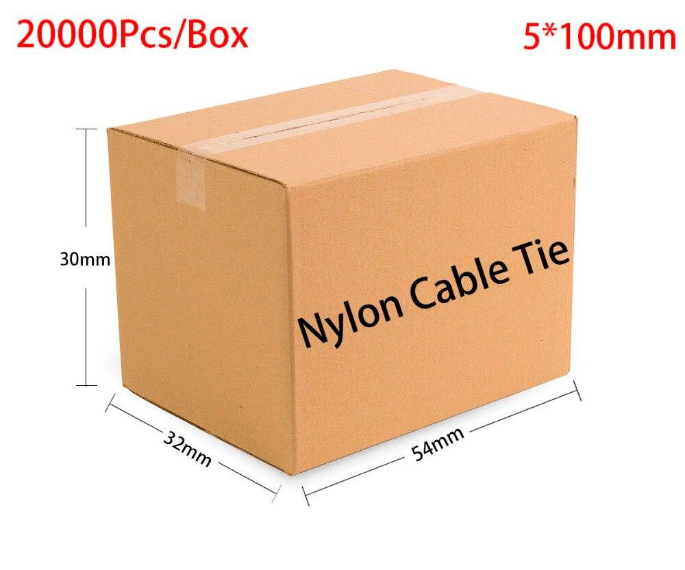 20000pcs/Box 5*100 5x100 width 4.8mm Self-Locking White Black Red Blue Yellow Green Nylon Wire Cable Zip Ties.Cable Ties 2 5 x 100mm self locking nylon cable zip ties black 100 pcs