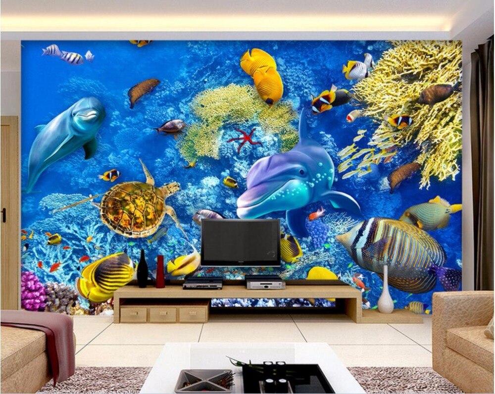 Custom mural foto 3d wallpaper coral sea dunia ikan dekorasi rumah lukisan gambar 3d mural dinding wallpaper dinding 3 d di wallpaper dari perbaikan rumah
