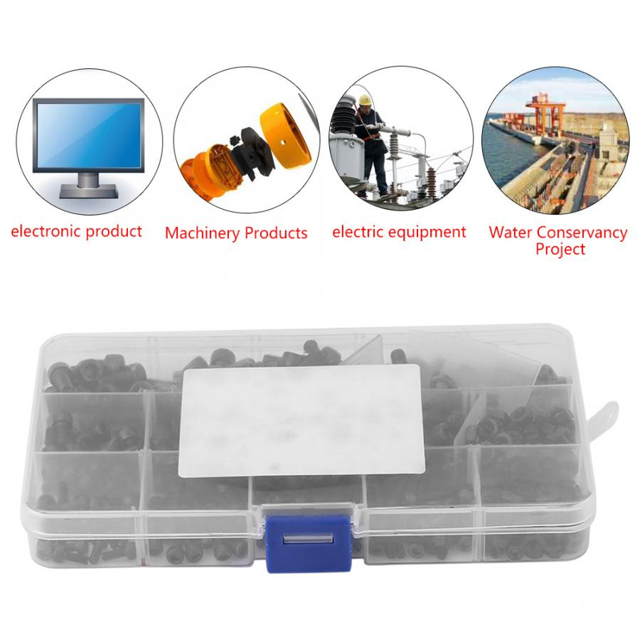 240pcs/Set M3/M4/M5 Screw And Nut Set Carbon Steel Hex Socket Head Cap Bolts And Nuts Assrotment Set