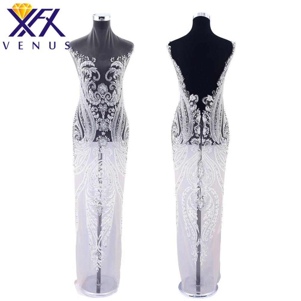 XINGFNAGXIU Rhinestones Sequins Beads Applique Crystals Decorative Long Patches Bridal Long Trim Dress for Evening Prom Dress