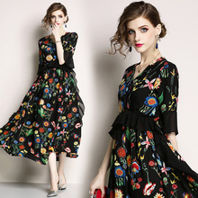 Fashion womes beach style ruffles dress New 2019 summer runways floral print chiffon A045