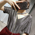 [CHICEVER] 2017 Spring Hanging Neck Hollow V neck Bright Wire Loose Wild Short Sleeve T-shirt Women New Fashion Clothing