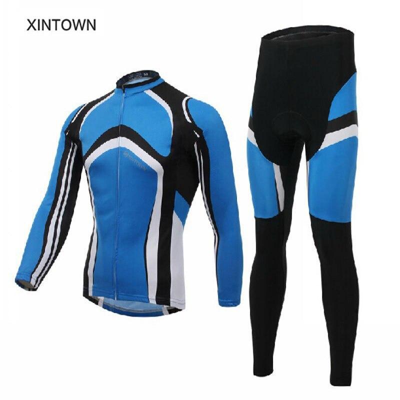 Xinown conjunto de ropa de ciclismo de manga larga y pantalones de bicicleta azul-in Conjuntos de ciclismo from Deportes y entretenimiento on AliExpress - 11.11_Double 11_Singles' Day 1