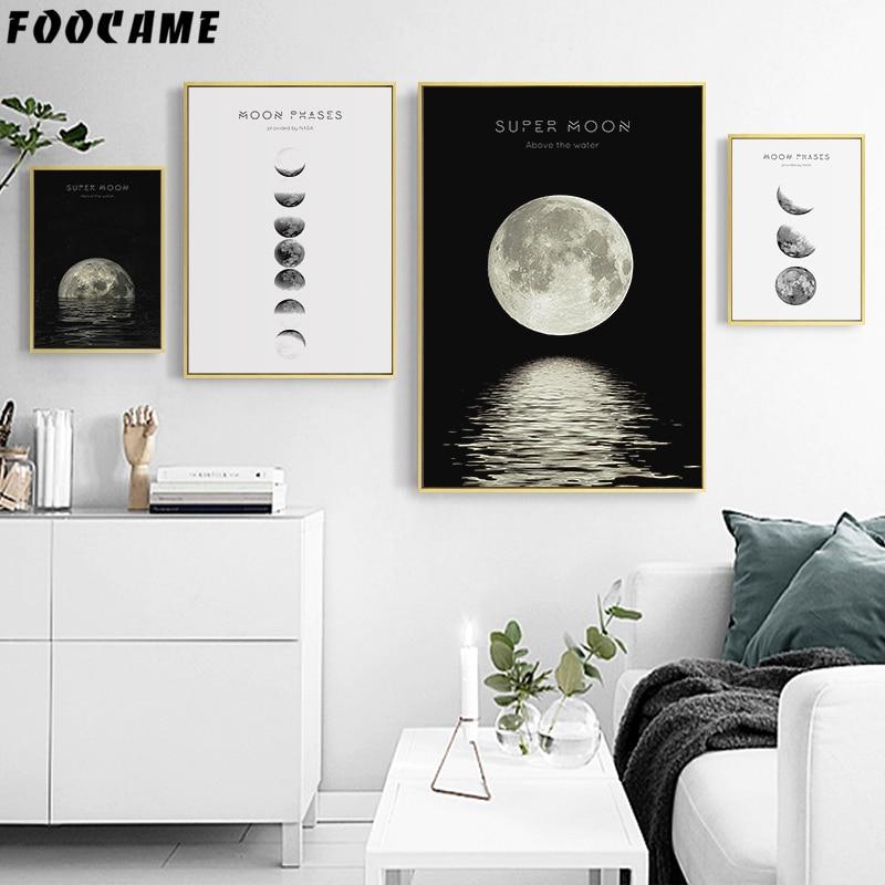 FOOCAME Lua Espaço Planeta Nórdico Cartaz Preto e Branco Arte Da Parede Impressão Pintura Da Lona Sala de estar Decoração Imagem Modern