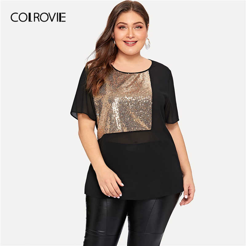 COLROVIE Plus Size Black Contrast Sequin Sheer Blouse Shirt Vrouwen 2019 Zomer Korte Mouw Casual Office Dames Blouses En Tops