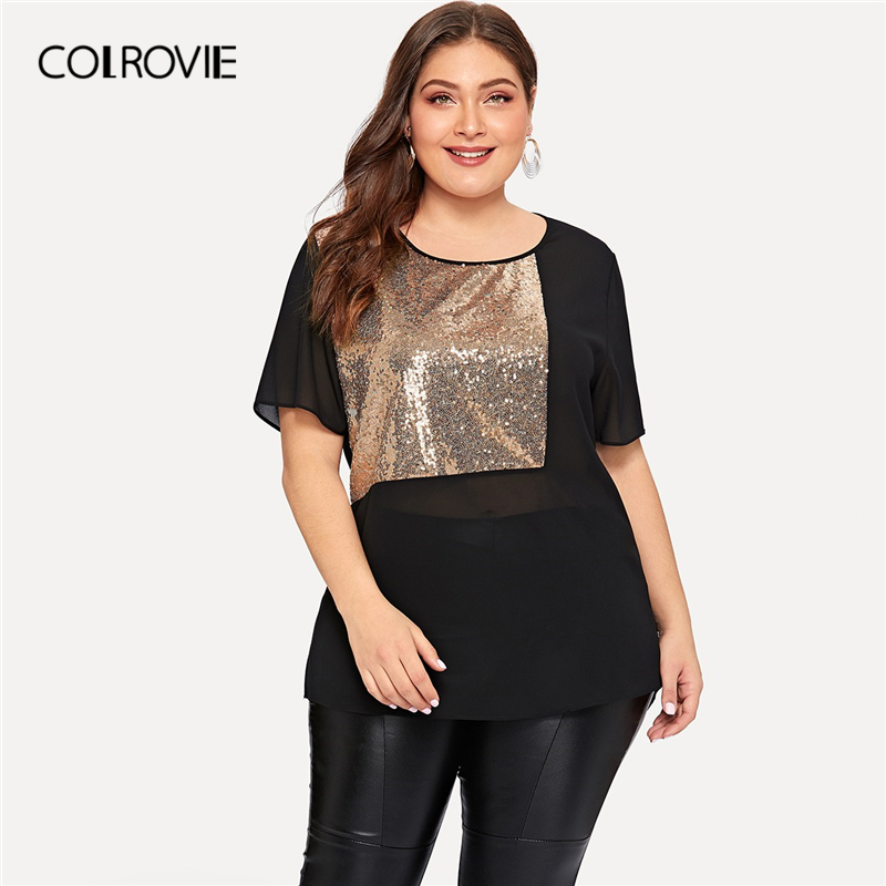 COLROVIE Plus Size Black Contrast Sequin Sheer Blouse Shirt Women 2019 Summer Short Sleeve Casual Office Ladies Blouses And Tops