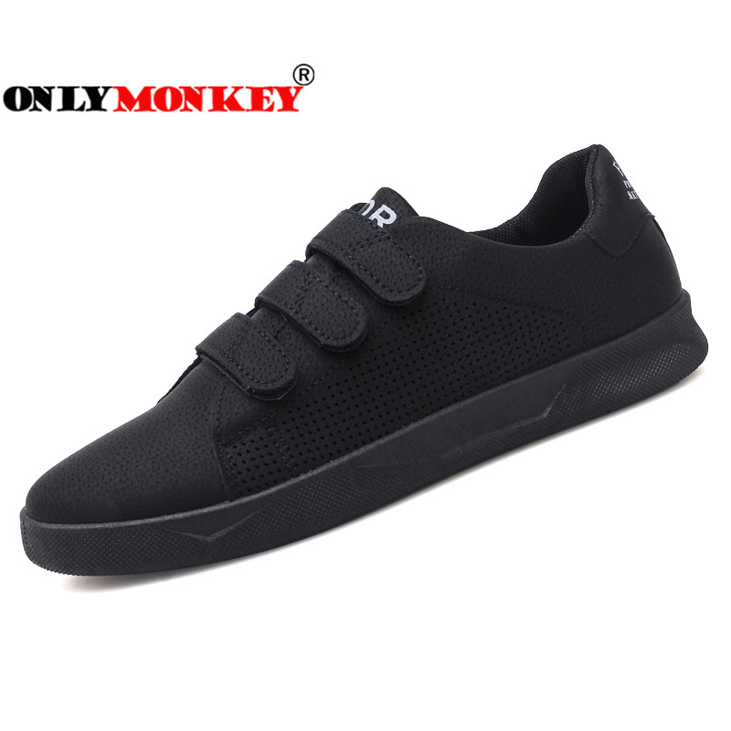 ONLYMONKEY Hook Loop Sneakers Men Fashion Design Breathable Men Casual Shoes High Quality Men Vulcanize Shoes Durable Men Shoes stylish men s casual shoes with breathable and metal design
